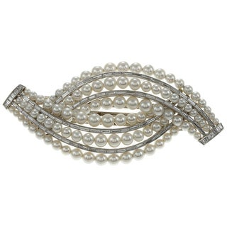 Platinum Pearl and 4 1/2ct TDW Diamond Art Deco Estate Barrette (G-H, VS1-VS2)