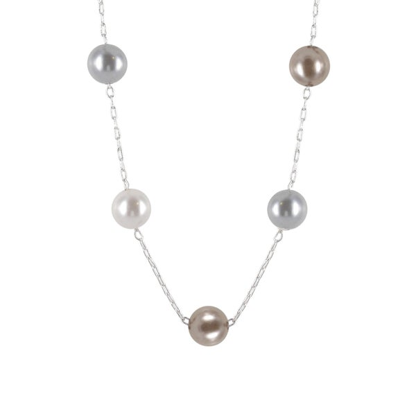 Roman Silvertone Cream, Champagne and Grey Faux Pearl Necklace