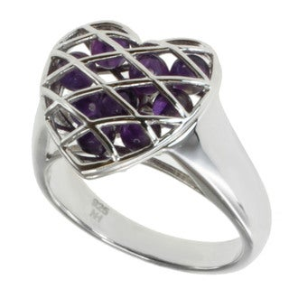 Michael Valitutti Sterling Silver Amethyst 'Heart' Ring