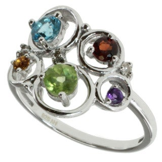 Michael Valitutti Sterling Silver Multi-gemstone and Diamond Ring