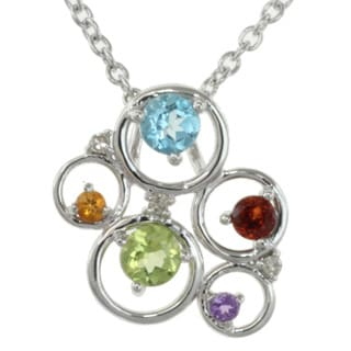 Michael Valitutti Sterling Silver Multi-gemsone and Diamond Necklace