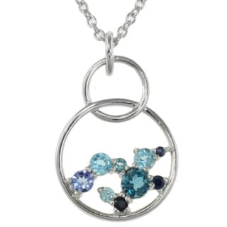 Michael Valitutti Sterling Silver Blue Multi-gemstone Necklace
