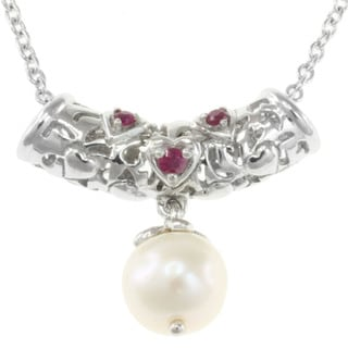 Michael Valitutti Sterling Silver Freshwater Pearl and Ruby Necklace (8 mm)