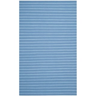 Safavieh Hand-woven Moroccan Dhurrie Stripes Dhurrie Blue Wool Rug