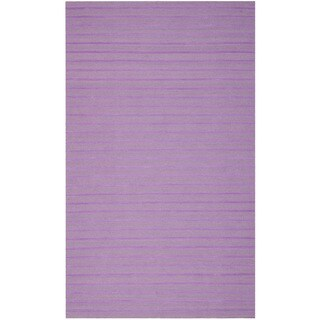 Safavieh Hand-woven Moroccan Reversible Dhurrie Stripes Reversible Dhurrie Lavender Wool Rug