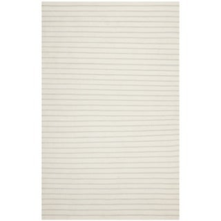 Safavieh Hand-woven Moroccan Dhurrie Stripes Dhurrie White Wool Rug