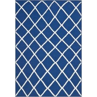 Safavieh Hand-woven Moroccan Dhurrie Dark Blue Wool Rug