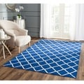 Hand-woven Moroccan Dhurrie Dark Blue Wool Rug