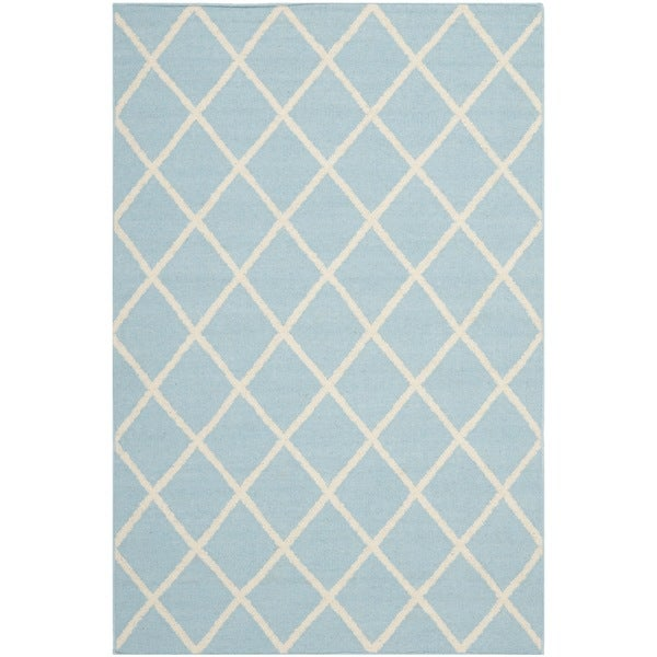 Safavieh Handwoven Moroccan Reversible Dhurrie Geometric-Print Light Blue Wool Rug
