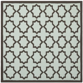 Safavieh Hand-woven Moroccan Dhurrie Light Blue/ Chocolate Wool Rug (8' Square)