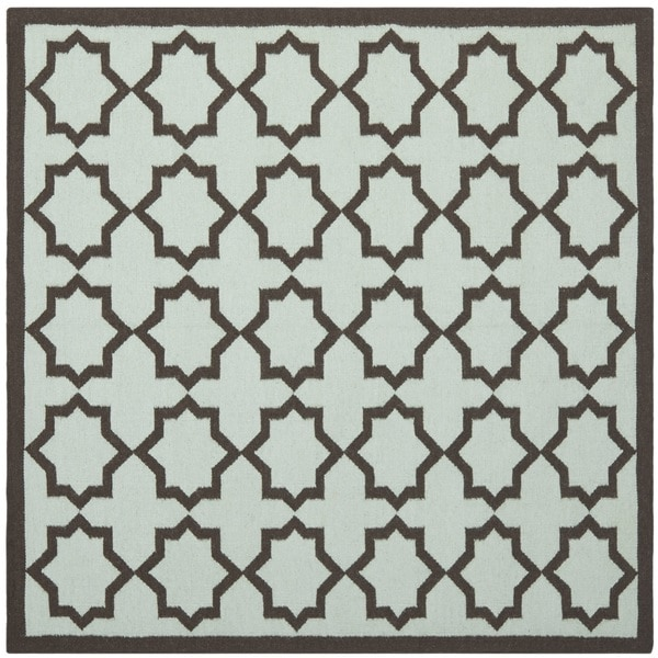 Safavieh Hand-woven Moroccan Reversible Dhurrie Light Blue/ Chocolate Wool Rug (8' Square)
