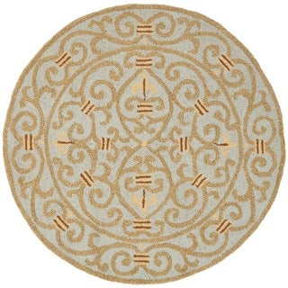 Hand-hooked Chelsea Irongate Light Blue Wool Rug (3' Round)