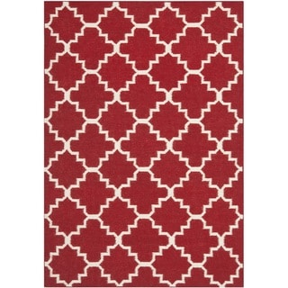 Transitional Handwoven Moroccan Dhurrie Red Wool Rug