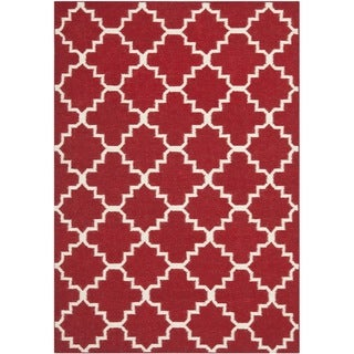 Safavieh Transitional Handwoven Moroccan Reversible Dhurrie Red Wool Rug