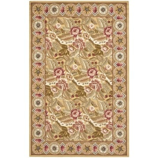 Hand-hooked Chelsea Floral Wool Rug (5'3 x 8'3)