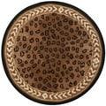 Safavieh Hand-hooked Chelsea Leopard Brown Wool Rug (3' Round)