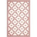 Hand-hooked Bumblebee Ivory/ Rose Wool Rug