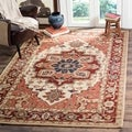 Hand-hooked Heriz Red/ Ivory Wool Rug