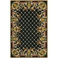 Hand-hooked Chelsea Pineapples Black/ Multi Wool Rug