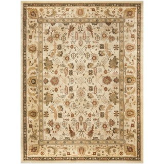Oushak Cream/ Cream Powerloomed Rug