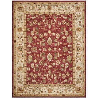 Oushak Red/ Cream Powerloomed Rug