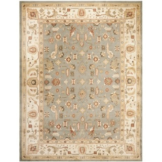 Oushak Green/ Cream Powerloomed Rug