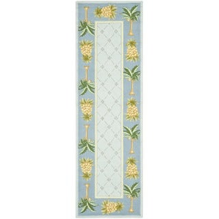 Safavieh Hand-hooked Pineapples Light Blue Wool Rug (2'6 x 10')