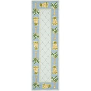 Safavieh Hand-hooked Pineapples Light Blue Wool Rug (2'6 x 6')