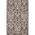 Hand-hooked Chelsea Damask Brown Wool Rug (2'6 x 4')