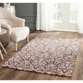 Hand-hooked Chelsea Damask Brown Wool Rug (2'9 x 4'9)