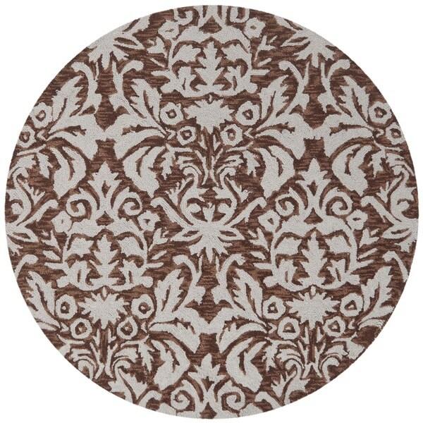 Safavieh Hand-hooked Chelsea Damask Brown Wool Rug (3' Round)