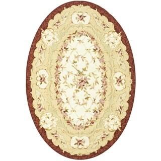 Safavieh Hand-hooked Aubusson Ivory/ Burgundy Wool Rug (7'6 x 9'6 Oval)