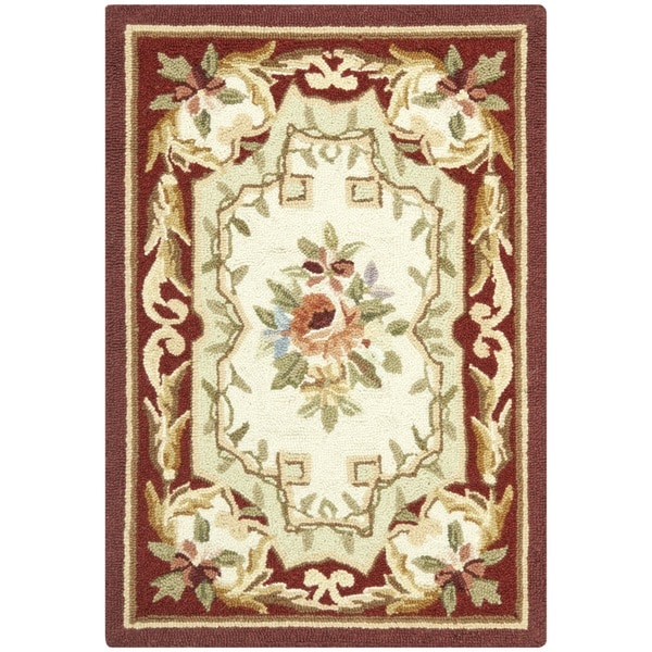 Safavieh Hand-hooked Aubusson Ivory/ Red Wool Rug (1'8 x 2'6)