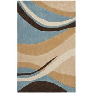 Handmade Avant-garde Waves Blue Rug (2'6 x 4')