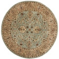 Traditional Handmade Persian Legend Blue/ Gold Wool Rug (3'6 Round)