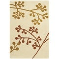 Handmade Vine Ivory/ Orange New Zealand Wool Rug (2' x 3')