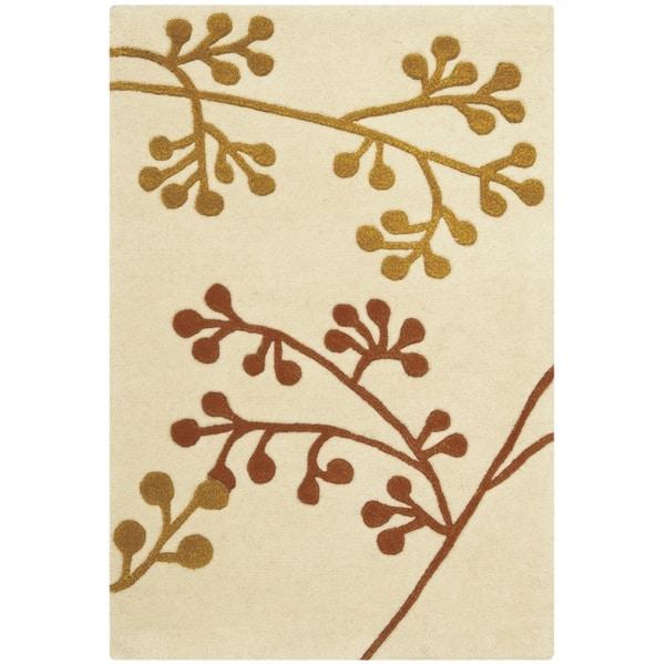Safavieh Handmade Vine Ivory/ Orange New Zealand Wool Rug (2' x 3')