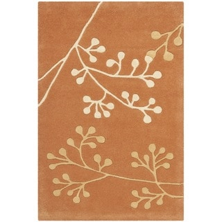 Handmade Vine Rust New Zealand Wool Rug (2' x 3')
