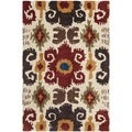 Handmade Festive Ivory New Zealand Wool Rug (2' x 3')