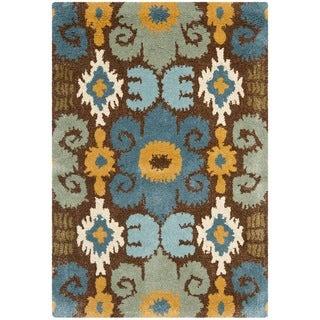 Handmade Festive Brown New Zealand Wool Rug (2' x 3')