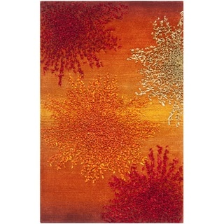 Handmade Soho Burst Rust New Zealand Wool Rug (2' x 3')