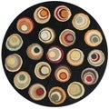 Handmade Soho Candies Black/ Multi N. Z. Wool Rug (6' Round)