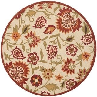 Handmade Blossom Paisley Beige Wool Rug (8' Round)