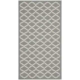 Safavieh Anthracite Grey/ Beige Indoor Outdoor Rug (2' x 3'7)