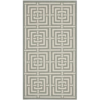 Safavieh Grey/ Cream Indoor Outdoor Rug (2' x 3'7)