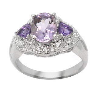 De Buman Sterling Silver 3-stone Amethyst and Cubic Zirconia Ring