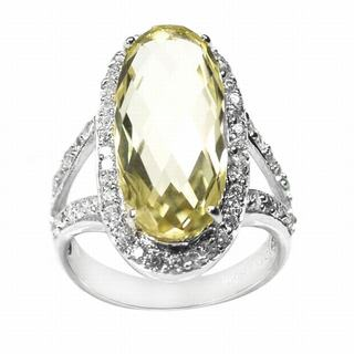 De Buman Sterling Silver Lemon Quartz and Cubic Zirconia Ring