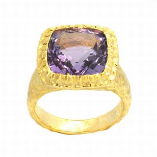 De Buman Gold over Silver Amethyst Ring