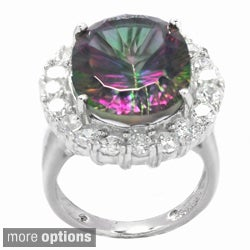 De Buman Sterling Silver Mystic Quartz and Cubic Zirconia Ring