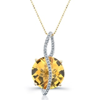 14k Yellow Gold Citrine and 1/5ct TDW Diamond Necklace (I-J, I1-I2)